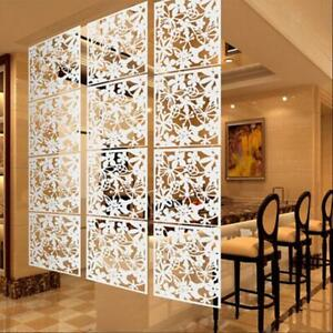 4pcs Hollow Room Divider Partition Wall Panel for Living Room 40x40cm White