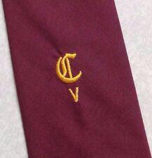 CRESTED CLUB ASSOCIATION TIE VINTAGE RETRO BURGUNDY CV CREST 1990s NECKTIE