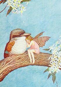 Modern Postcard: Vintage Print Repro - Fairy in Pink Sits w/ Kookaburra Bird