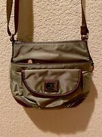 LANCEL Paris Authentic Green Nylon & Leather Limited gold Logo Cross Body Bag