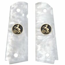 AJAX Grips for 1911 Full Size Government WHITE Pearlite BLACK & GOLD COLT COIN