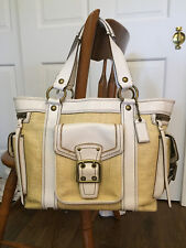 Coach Legacy Large Straw & White Leather Tote Carryall Bag