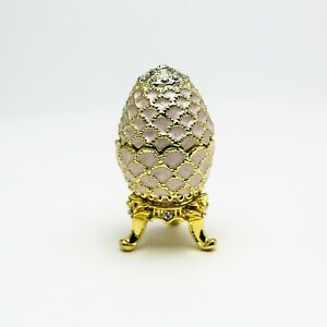 White small Faberge Egg Trinket Box  Handmade by Keren Kopal Austrian  Crystals
