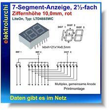 7-Segment-Anzeige, 2½-fach, rot,10mm, Multiplex gem. Anode, LITEON: LTD4665WC