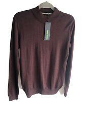 BNWT Remus Uomo dark red turtle neck merino wool blend  jumper size Medium