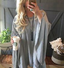 XL New Cozy Grey Cotton Tunic Pullover Oversized Sweater Top Women's X-LARGE