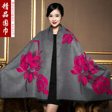 Autumn and winter scarf thickened warm shawl double-sided large lotus