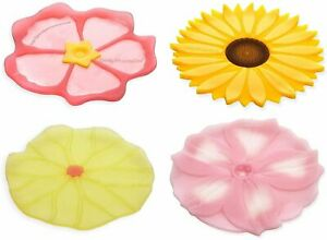 Charles Viancin Floral Coasters Set of 4 - Lilypad, Sunflower, Hibiscus and...