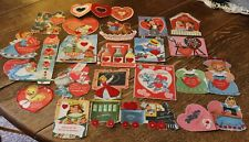 "Vintage 20 Valentines 1950's with Flocking All Different Used 3 1/2"" to 8 1/2"""