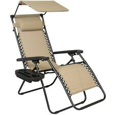 Folding Lounge Lawn Chair with Canopy Zero Gravity Outdoor Recliner Beach Pool  sc 1 st  eBay & Fabric Patio Lawn Chairs | eBay