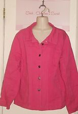 Jacket JL STUDIO Jessica London Stretchy Denim Pink Bubble Gum  Sz 16W * VG