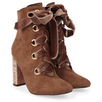 New UK Women's Block Heel Zip Faux Suede Ankle Hi Top Lace Up  Boots Shoes UK3-8