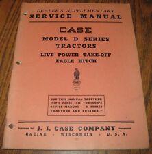 Case D Tractor PTO & Eagle Hitch Service Repair Shop Manual Supplement  Original