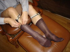 Lot 6 Chaussettes T-41/43 MARRON a cote Ref V02 nylon transparent socks sheer