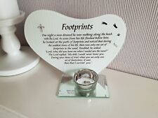Footprints memorial glass heart plaque with tea light holder with diamante cross