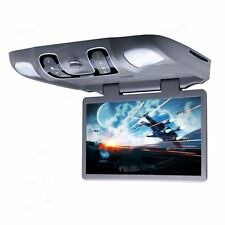 """Gray 15"""" Car Flip Down Monitor Overhead Roof Mounted USB DVD Player Game Disc"""