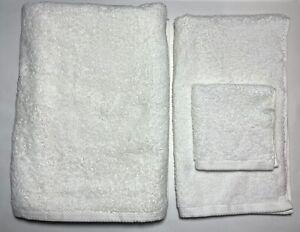 3 Piece NEW Frette Towel Set - 1 Bath Sheet & 1Hand Towel & 1 Washcloth WHITE