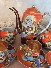 More details for oriental satsuma coffee set - 15 piece set - orange/brown with gold lining