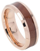 Tungsten Ring Men Women Wedding Band Rose Gold IP Hawaiian Koa Wood Inlay 8mm