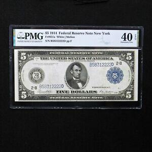 1914 $5 FRN  New York, Fr # 851a, PMG 40 EPQ Extremely Fine, White/Mellon