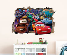 3D Hole in Wall Disney Cars Wall Art Sticker Decal Print DS1