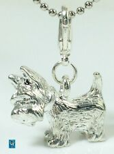 3D Terrier Dog Dangle Silver  Clip On Charm Pewter Based