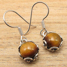 Cab Brown TIGER'S EYE ETHNIC Earrings !! 925 Silver Plated HANDCRAFTED Jewelry