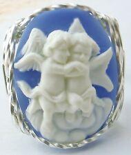 Hugging Large Cherubs Cameo Sterling Silver Ring
