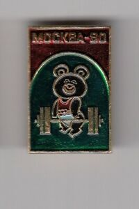 Pin badge MISHA BEAR weightlifting Olympic games Olympics Moscow 1980 80 USSR