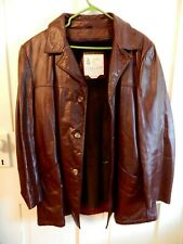 Vintage Mens Brown Leather Jacket London Fog Cowhide Hipster SuitCoat Fight Club