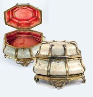 Antique French Jewelry Box, Casket, Mother of Pearl & Ormolu, c. 1810-40