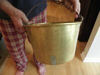Antique Hiram W. Hayden c1851 brass bucket 12 3/8 in. in diameter & 8  in deep