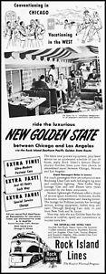 1948 Rock Island Lines Railroad The Fiesta Car dining vintage photo print ad LA9