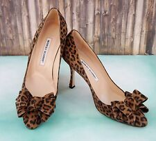 MANOLO BLAHNIK 38 Black Leopard Lisa Suede Bow Heels Pumps 7.5