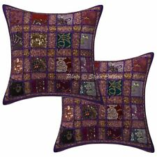 Cotton Ethnic 40 x 40 cm Patchwork Embroidered Sequins Throw Pillow Covers