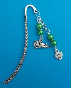 Tibetan Silver Bookmark-Green Beads & I LOVE MY CAT. Christmas/Birthday Gift.