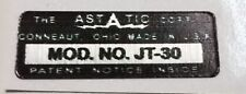 ASTATIC D-104  JT-30 MICROPHONE LABEL FOR RESTORATION.