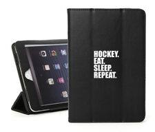 For iPad 2 3 4 5 Air Mini Pro Leather Smart Case Cover Hockey Eat Sleep Repeat