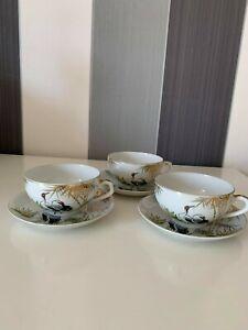 Vintage Porcelain Japanese Kutani ? Set of 3 Coffee Tea Cup Saucer Birds Geisha