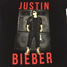 Justin Bieber Believe Tour 2012/2013 Black 2 Sided T-Shirt Pop Rap Hip Hop