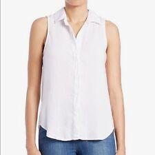 Anthropologie Cloth & Stone Button Up Shirt Split Back Sleeveless White Size  L