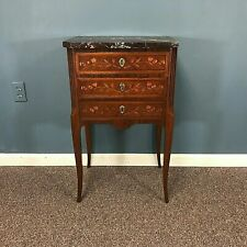 French Louis XV Style Fine 3 Drawer Marble Top Side Table Night Stand W/ Inlay