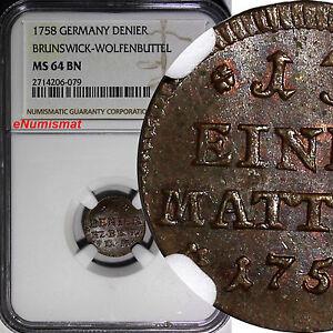 Germany BRUNSWICK-WOLFENBÜTTEL 1758 1 Denier NGC MS64 BN TOP GRADED KM#948 (079)