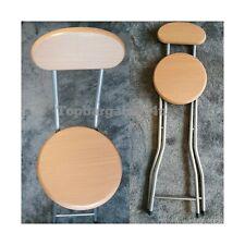 Folding Compact Beech Effect High Chair Breakfast Bar Stools Seat Home Office