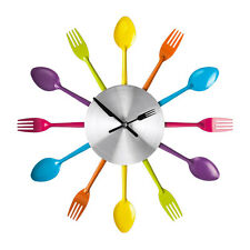 Multi Coloured Cutlery Wall Clock Plastic Metal Kitchen Home Restaurant Hanging