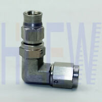 Stainless Steel 3- AN AN3 3/8 - 24 UNF 90 Elbow Brake Swivel Hose End Fitting