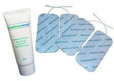 TENS PADS 4 LARGE TENS ELECTRODES & TENS EMS CONDUCTIVE GEL 65ml TUBE