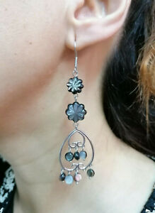 orecchini pendenti moda estate in madreperla e argento 925 anallergico