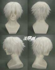 US Stock Anime Tokyo Ghoul Kaneki Ken Short White Cosplay Costume Wig +Wig CAP