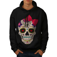 Wellcoda Cross Death Skull Mens Hoodie, Angel Casual Hooded Sweatshirt